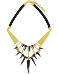 Vince Camuto - Goldtone Horn Spike and Leather Frontal Necklace - Lyst