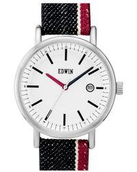 Edwin Selvedge Denim Strap Watch - White