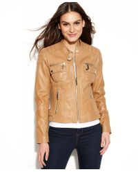 Michael Kors Quilted Detail Leather Motorcycle Jacket - Lyst