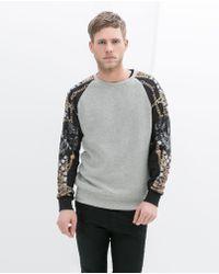 Zara Sweatshirt with Printed Sleeves - Lyst