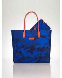 Ralph Lauren Blue Camouflage Tote - Lyst