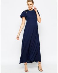 Asos Maternity Maxi Dress With Embellished Shoulders - Lyst