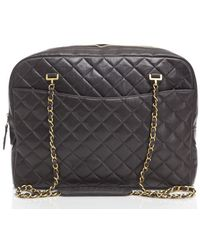 Chanel Preowned Black Lambskin Quilted Large Camera Bag - Lyst