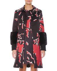 Marni Beaver Fur-cuffed Macro-floral-print Coat - Lyst