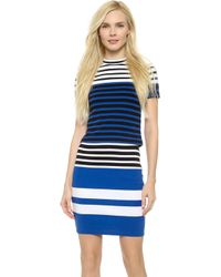 T By Alexander Wang Engineer Stripe Cropped Tee - Black And Viper - Lyst