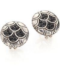 John Hardy | Naga Black Sapphire & Sterling Silver Button Earrings | Lyst