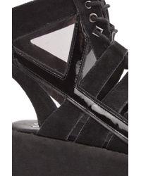 YRU Medusa Open Toe Platform in Black