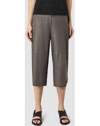 AllSaints Mitel Leather Culottes - Brown