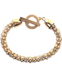 Anne Klein - Gold Tone And Pearl Tubular Bracelet - Lyst