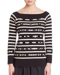 Marc Jacobs | Beaded Striped Boatneck Top | Lyst