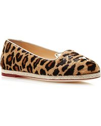Charlotte Olympia Capri Kitty Embroidered Printed Calfhair Espadrilles - Lyst