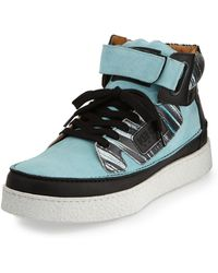Kenzo Kenyon Suede  Printed Leather High-top Sneaker - Lyst