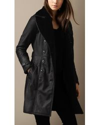 Burberry Shearling Trench Coat - Lyst
