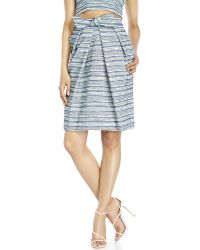 Badgley Mischka Belted Tweed Skirt - Blue