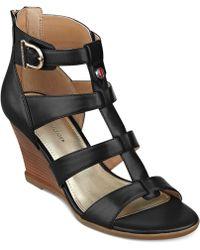 Tommy Hilfiger Osiana Wedge Sandals - Black