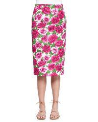 Michael Kors Peony-Print Knee-Length Pencil Skirt - Lyst