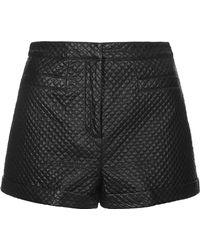 Topshop Petite Faux Leather Stitch Detail Shorts  Black - Lyst