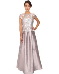 Adrianna Papell Cap Sleeve Sequin Ilusion Lace Duponi Gown - Lyst