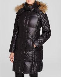Marc New York Alana Fur Trim Hooded Puffer Coat - Black