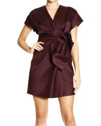 Balenciaga Dress Short Sleeves Satin with Bow Detail - Lyst