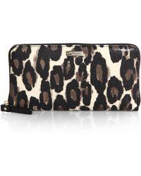 Kate Spade Cedar Street Leopard-print Faux Leather Wallet - Lyst