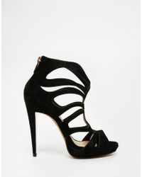 df08d3050c6 Forever Unique - Martini Caged Suede Heeled Sandals - Lyst