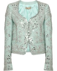 Emilio Pucci Embellished Wool and Silkblend Blazer blue - Lyst