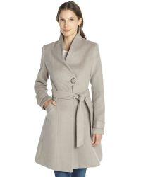 Badgley Mischka Taupe Wool Belted Three Quarter Coat - Lyst