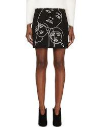 Stella McCartney Black Embroidered Portait Skirt - Lyst
