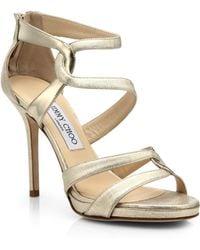 Jimmy Choo Tomar Twist Metallic Leather Platform Sandals - Lyst