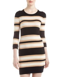 French Connection Striped Three Quarter Sleeve Dress - Lyst
