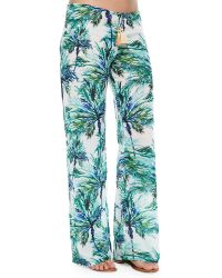 Pilyq Carter Palm-Tree-Print Coverup Pants - Lyst