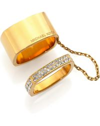 Michael Kors Heritage Logo Pavé Chained Square Ring Set gold - Lyst