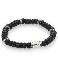John Hardy Batu Bedeg Sterling Silver Beaded Braceletfrosted Black Chalcedony - Lyst