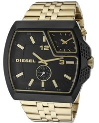 Diesel Mens Double Time Zone Black Dial Gold Tone Ion Plated Stainless Steel - Lyst