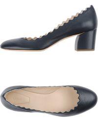 Chloé Lauren Scallop-edged Block-heel Velvet Pumps - Blue