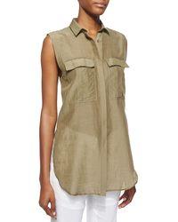 Helmut Lang Sleeveless Cotton-Silk Top - Lyst