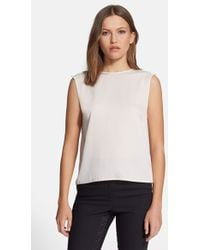 Halston Heritage Drape Back Stretch Silk Georgette Top - Lyst