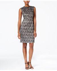 Nine West Beaded Lace Sheath Dress - Natural