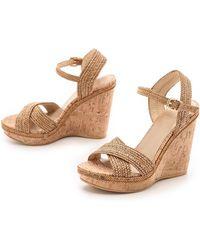 Stuart Weitzman Minx Sandals - Camel - Lyst