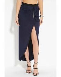 Forever 21 Heathered Knit Maxi Skirt - Blue