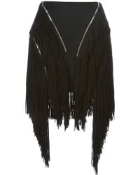 Jay Ahr Fringed Zipper Skirt - Lyst