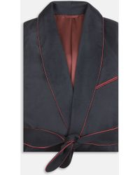 Turnbull & Asser | Navy And Red Piped Cashmere Gown | Lyst