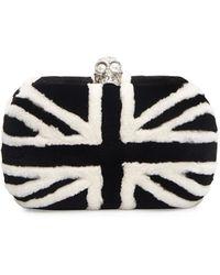 Alexander McQueen Britannia Skull-Clasp Mink Fur Clutch Bag - Lyst