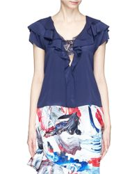 Prabal Gurung Floral Crepe Band Ruffle Placket Blouse - Lyst