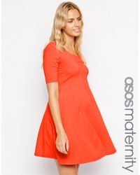 Asos Maternity Exclusive Scallop Skater Dress - Lyst