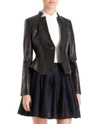 Icb - Perforated Single Button Leather Jacket - Lyst