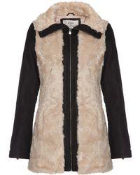 Quiz Faux Fur Pu Sleeve Zip Jacket - Pink