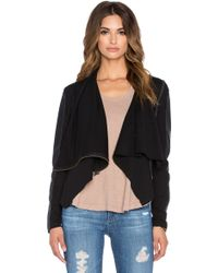Bobi Mixed Media Drape Front Sweater - Black