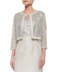 Kay Unger - 3/4-Sleeve Sequined Lace Jacket & Cap-Sleeve Combo Lace Tweed Sheath Dress - Lyst